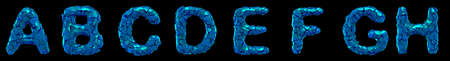 Plastic letters set A, B, C, D, E, F, G, H made of 3d render plastic shards blue color. Collection of plastic alphabet isolated on black.