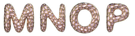 Realistic 3D letters set M, N, O, P made of gold shining metal letters.Collection of gold shining metallic with pink glass symbol isolated on black background Stockfoto