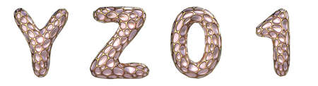 Realistic 3D letters set Y, Z and numbers set 0, 1 made of gold shining metal letters.Collection of gold shining metallic with pink glass symbol isolated on white background