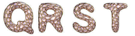 Realistic 3D letters set Q, R, S, T made of gold shining metal letters.Collection of gold shining metallic with pink glass symbol isolated on black background