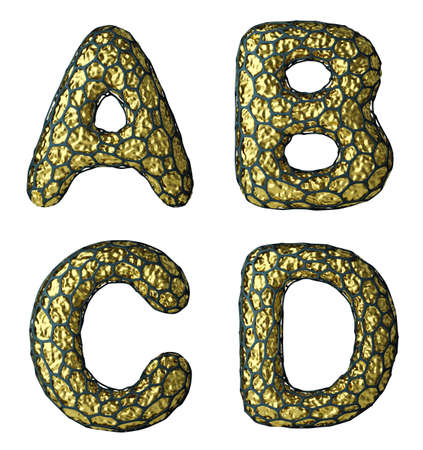 Realistic 3D letter set A, B, C, D made of gold shining metal. Collection of gold shining metallic with black cage symbol isolated on white background