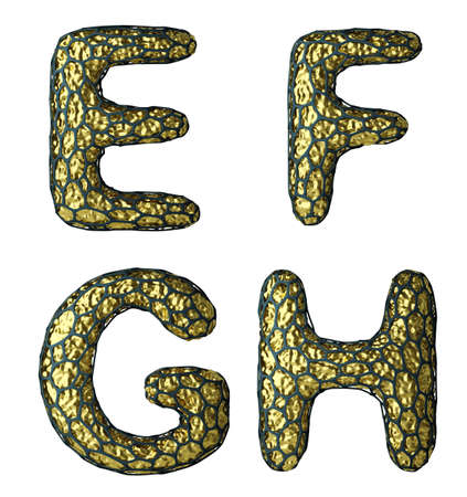 Realistic 3D letter set E, F, G, H made of gold shining metal. Collection of gold shining metallic with black cage symbol isolated on white background