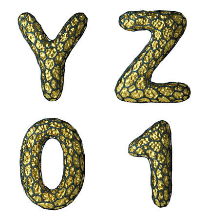 Realistic 3D letter set Y, Z, 0, 1 made of gold shining metal. Collection of gold shining metallic with black cage symbol isolated on white background