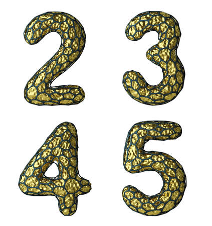 Number set 2, 3, 4, 5 made of realistic 3d render golden shining metallic. Collection of gold shining metallic with black cage symbol isolated on white background Stockfoto