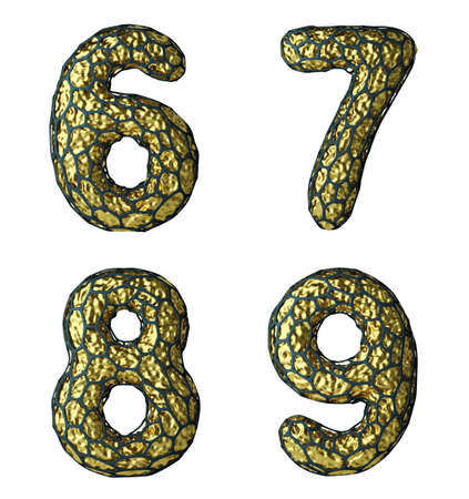 Number set 6, 7, 8, 9 made of realistic 3d render golden shining metallic. Collection of gold shining metallic with black cage symbol isolated on white background