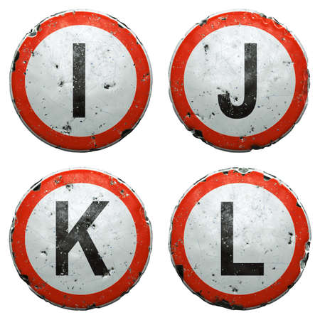 Set of public road signs in red and white with a capitol letters I, J, K, L in the center isolated on white background. 3d
