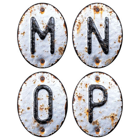 3D render set of capital letters M, N, O, P made of forged metal on the background fragment of a metal surface with cracked rust. Stock Photo