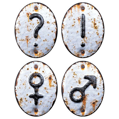 Set of symbols question mark, exclamation point, female, male made of forged metal on the background fragment of a metal surface with cracked rust. Stock Photo
