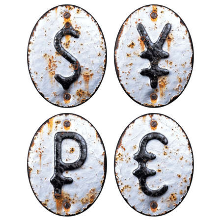 Set of symbols dollar, yen, rouble and euro made of forged metal on the background fragment of a metal surface with cracked rust.