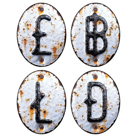 Set of symbols pound, baht, litecoin, dashcoin made of forged metal on the background fragment of a metal surface with cracked rust.