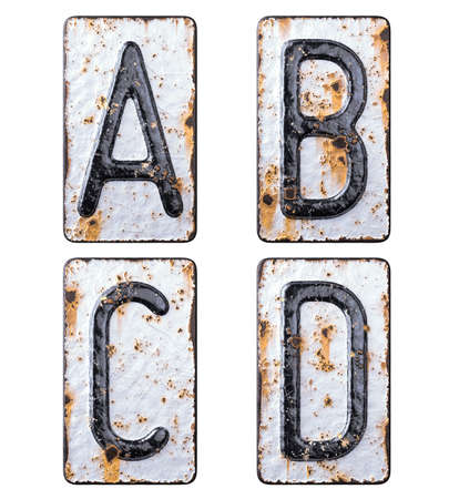 3D render set of capital letters A, B, C, D made of forged metal on the background fragment of a metal surface with cracked rust.