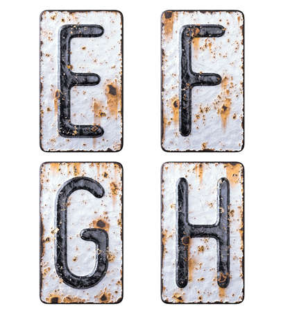 3D render set of capital letters E, F, G, H made of forged metal on the background fragment of a metal surface with cracked rust.
