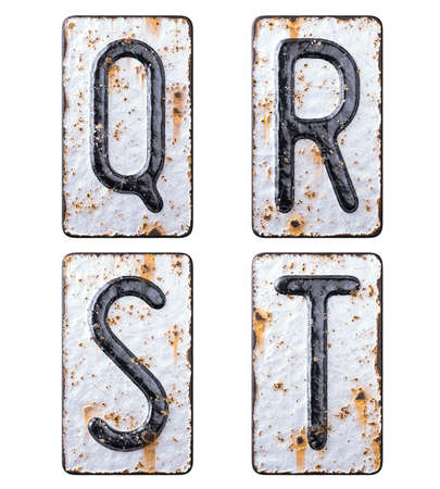 3D render set of capital letters Q, R, S, T made of forged metal on the background fragment of a metal surface with cracked rust.