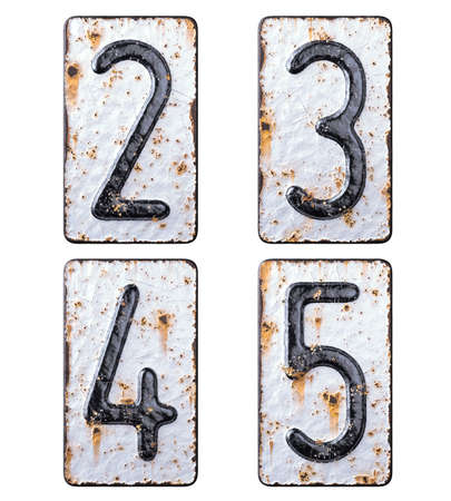 3D render set of numbers 2, 3, 4, 5 made of forged metal on the background fragment of a metal surface with cracked rust.