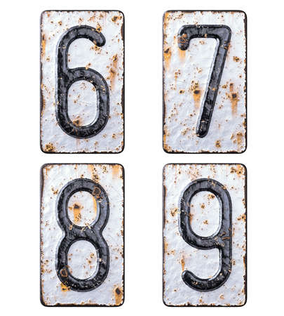 3D render set of numbers 6, 7, 8, 9 made of forged metal on the background fragment of a metal surface with cracked rust.