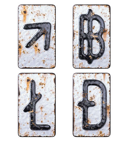 Set of symbols up arrow, baht, litecoin, dashcoin made of forged metal on the background fragment of a metal surface with cracked rust. Stock Photo
