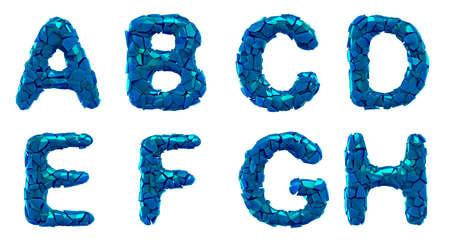 Plastic letters set A, B, C, D, E, F, G, H made of 3d render plastic shards blue color.