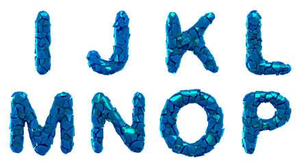 Plastic letters set I, J, K, L, M, N, O, P made of 3d render plastic shards blue color.
