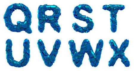 Plastic letters set Q, R, S, T, U, V, W, X made of 3d render plastic shards blue color.