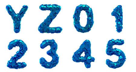 Plastic letters set Y, Z, 0, 1, 2, 3, 4, 5 made of 3d render plastic shards blue color.