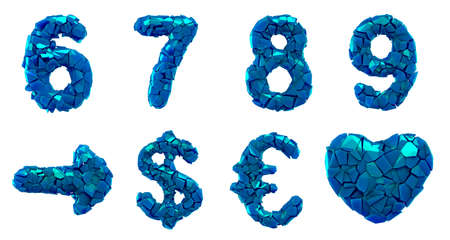 Plastic set numbers 6, 7, 8, 9 and symbol arrow, dollar, euro, heart made of 3d render plastic shards blue color.
