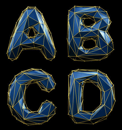 Realistic 3D set of letters A, B, C, D made of low poly style. Collection symbols of low poly style blue color glass isolated on black background 3d Stock Photo