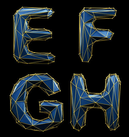 Realistic 3D set of letters E, F, G, H made of low poly style. Collection symbols of low poly style blue color glass isolated on black background 3d