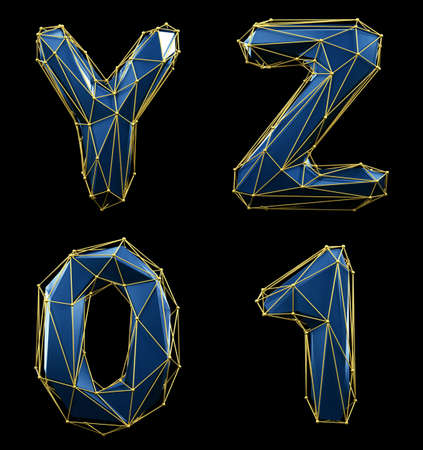 Realistic 3D set of letters Y, Z, 0, 1 made of low poly style. Collection symbols of low poly style blue color glass isolated on black background 3d