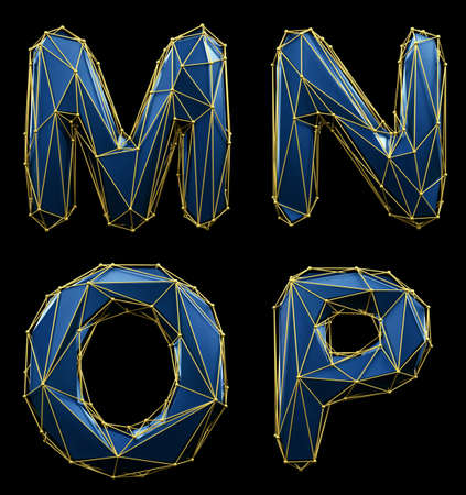 Realistic 3D set of letters M, N, O, P made of low poly style. Collection symbols of low poly style blue color glass isolated on black background 3d