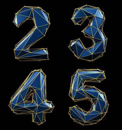 Set of numbers 2, 3, 4, 5 made of blue color glass.