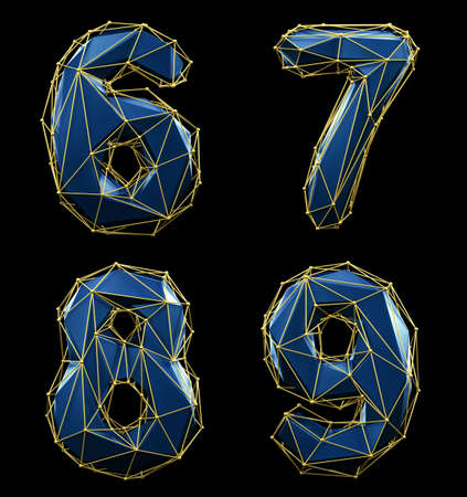 Set of numbers 6, 7, 8, 9 made of blue color glass. Stock Photo