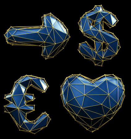 Symbol collection arrow, dollar, euro, heart made of blue glass. Collection symbols of low poly style blue color glass isolated on black background