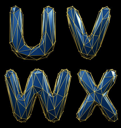Realistic 3D set of letters U, V, W, X made of low poly style. Collection symbols of low poly style blue color glass isolated on black background 3d