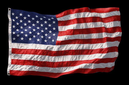 American flag waving in the wind isolated on black background. 3D