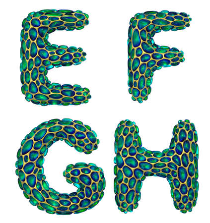 Realistic 3D letters set E, F, G, H made of gold shining metal letters.