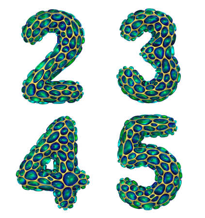 Number set 2, 3, 4, 5 made of realistic 3d render golden shining metallic. Collection of gold shining metallic with green color glass symbol Stock Photo