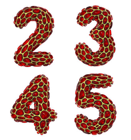 Number set 2, 3, 4, 5 made of realistic 3d render golden shining metallic. Collection of gold shining metallic with red color glass symbol Stock Photo