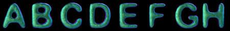 Letters set A, B, C, D, E, F, G, H made of realistic 3d render natural green snake skin texture.