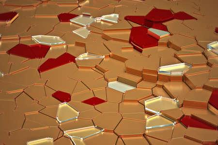 broken golden glass with sharp pieces over background