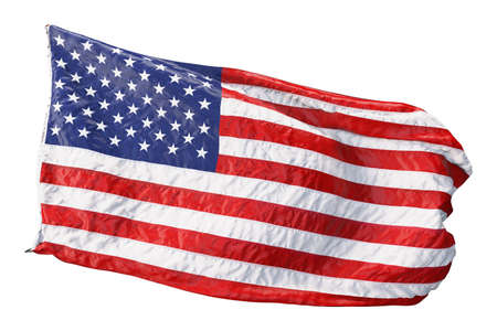 American flag waving in the wind isolated on white background. 3D