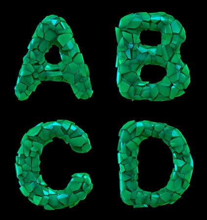 Plastic letters set A, B, C, D made of 3d render plastic shards green color.