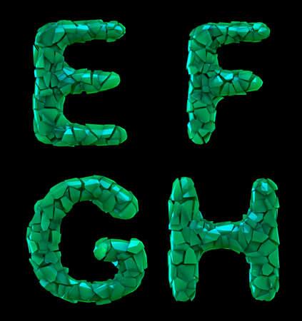 Plastic letters set E, F, G, H made of 3d render plastic shards green color.