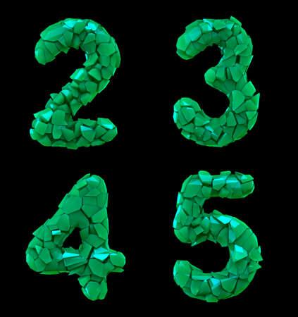 Number plastic set 2, 3, 4, 5 made of 3d render plastic shards green color.