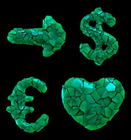 Symbol plastic set arrow, dollar, euro, heart made of 3d render plastic shards green color.