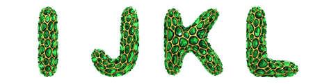Letter set I, J, K, L made of realistic 3d render green diamond. Collection of Diamond alphabet Stock Photo
