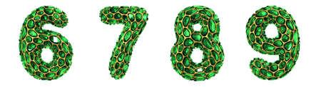 Number set 6, 7, 8, 9 made of 3d render diamond shards green color.