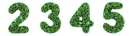 Number set 2, 3, 4, 5 made of 3d render diamond shards green color.