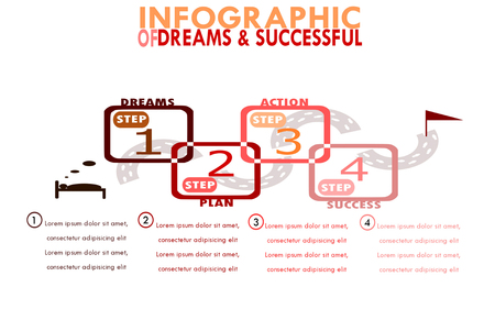 Infographic template for business, the 4 steps for success, how to make a dream comes true