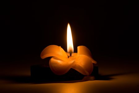 Burning candle in the form of a flower in night, in the dark photo