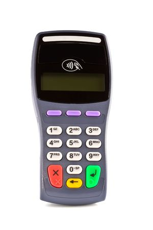 contactless: The payment terminal contactless for payment of purchases Stock Photo